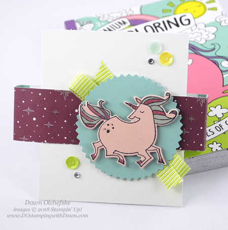 Stampin' Up! Magical Day coloring book belly band by Dawn Olchefske #dostamping  #stampinup #handmade #cardmaking #stamping #diy #rubberstamping #papercrafting #magicaldaystampset #myths&magic  #unicorngiftpackaging #packagingideas