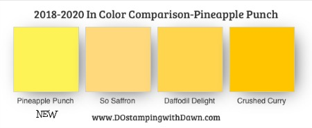 Pineapple Punch NEW 2018-2020 In Color Comparison shared by Dawn Olchefske #dostamping #stampinup #incolors
