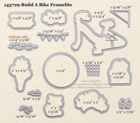Stampin' Up! Build A Bike Framelit Dies sizes shared by Dawn Olchefske #dostamping