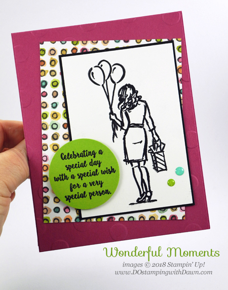 Last Chance for Berry Burst - 2017-2019 In Color - Stampin' Up! Wonderful Moments card shared by Dawn Olchefske #dostamping  #stampinup #handmade #cardmaking #stamping #papercrafting #wonderfulmoments #birthdaycards