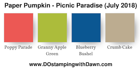 Paper Pumpkin colors for July 2018 Picnic Paradise Poppy Parade, Granny Apple Green, Blueberry Bushel, Crumb Cake #paperpumpkin #layeredleaves #colorcombo #stampinup #dostamping #picnicparadise
