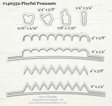 Playful-Pennants-146352-DOstamping Stampin' Up! Framelits Measurements sizes for 2018-2019 Annual Catalog #stampinup #dostamping #framelitsizes