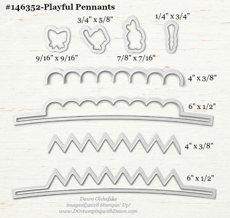 Playful-Pennants-146352-DOstamping Stampin' Up! Framelits Measurements sizes for 2018-2019 Annual Catalog #stampinup #dostamping #framelitsizes