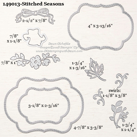 149013 Stitched-Seasons Framelits from Color Your Seasons August special from Stampin Up! #dostamping #framelits