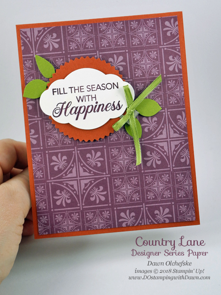 Stampin' Up! Country Lane DSP quick & cute card by Dawn Olchefske for DOstamperSTARS Thursday Challenge #DSC295 #dostamping #stampinup #handmade #cardmaking #stamping #papercrafting #countrylane