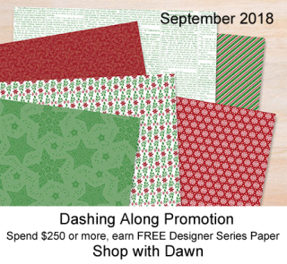 Stampin' Up! Dashing Along promotion - FREE DSP with $250 order or party. shop with Dawn Olchefske, https://bit.ly/shopwithdawn