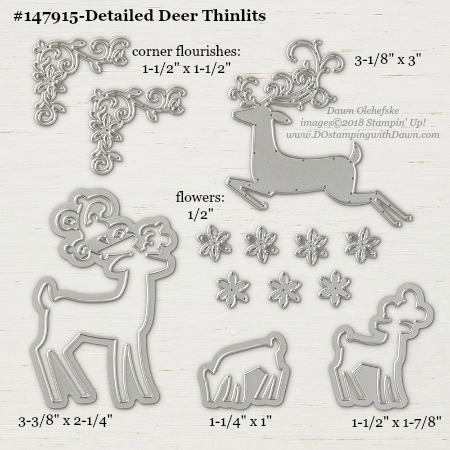 Stampin' Up! 147915 Detailed Deer Thinlits Dies from 2018 Holiday Catalog, measurements from Dawn Olchefske #dostamping #framelitssizes #bigshot #detaileddeer