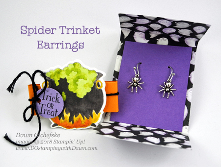 Stampin' Up! Toil & Trouble Suite Week -Day 3 - Spider Trinket Earrings from Dawn Olchefske for DOstamperSTARS Thursday Challenge #DSC300 #dostamping  #stampinup #handmade #cardmaking #stamping #diy #papercrafting #halloween #packagingideas #spidertrinkets