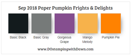 Sep 2018 Paper Pumpkin Frights & Delights Color Combo: Basic Black & Gray, Gorgeous Grape, Mango Melody, Pumpkin Pie #dostamping #paperpumpkin #stampinup
