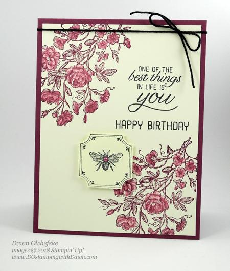 Stampin' Up! Very Vintage Host set and Darling Label Punch card by Dawn Olchefske for DOstamperSTARS Thursday Challenge #DSC286 #dostamping #stampinup #cardmaking  #rubberstamping #papercrafting #stampinrewards #birthdaycards #veryvintage