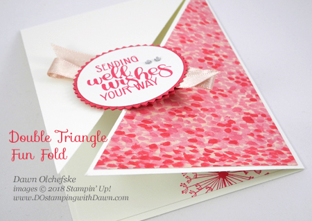 dandelion wishes double triangle fold card dostamping with dawn