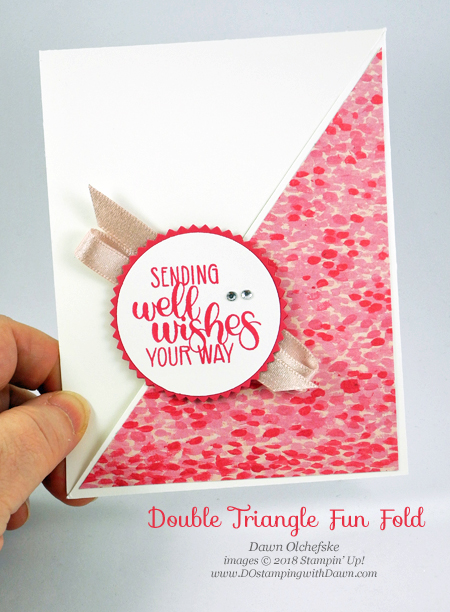 Stampin' Up! Double Triangle Fun Fold card using Dandelion Wishes by Dawn Olchefske #dostamping  #stampinup #handmade #cardmaking #stamping #papercrafting #funfold #doubletriangle #dandelionwishes