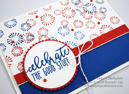 Stampin' Up! Birthday Backgrounds fireworks card by Dawn Olchefske for DOstamperSTARS Thursday Challenge #DSC287 #dostamping #stampinup #cardmaking  #rubberstamping #papercrafting, #birthdaycards #4thofjuly