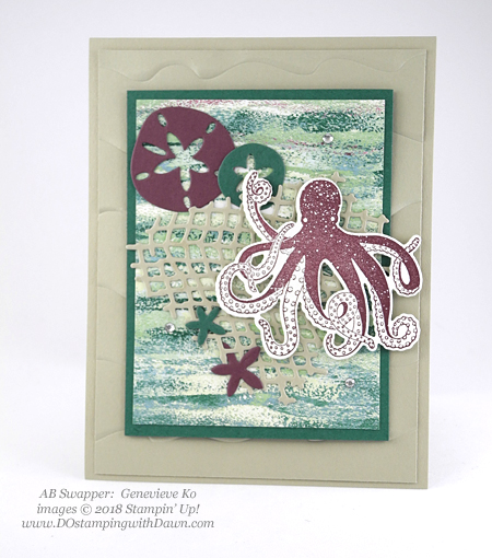 Stampin' Up! Tranquil Textures Suite Week Day 4, swaps shared by Dawn Olchefske #dostamping  #stampinup #handmade #cardmaking #stamping #papercrafting #tranquiltextures #seaoftextures (Genevieve Ko)