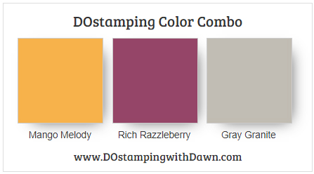 Stampin' Up! Color Combo Mango Melody, Rich Razzleberry, Gray Granite  by Dawn Olchefske #dostamping #stampinup #colorcombo