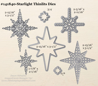 Stampin' Up! Starlight Thinlits Dies sizes shared by Dawn Olchefske #dostamping #stampinup