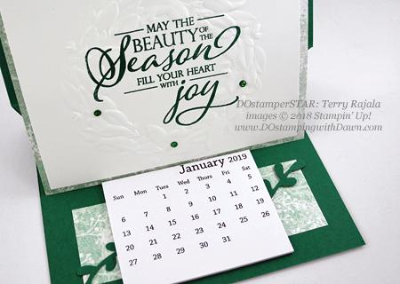 Terry Rajala's Easel Calendar Card #dostamping #howdshedothat #stampinup #handmade #cardmaking #stamping #papercrafting