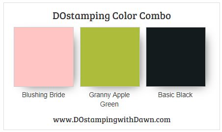Stampin' Up! color combo Blushing Bride, Granny Apple Green, Basic Black from Dawn Olchefske #dostamping #stampinup #colorcombo