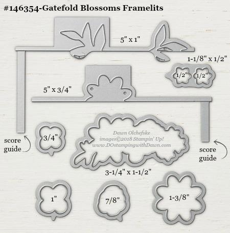Gatefold Blossoms-146354G-DOstamping Stampin' Up! Framelits Measurements sizes for 2018-2019 Annual Catalog #stampinup #dostamping #framelitsizes