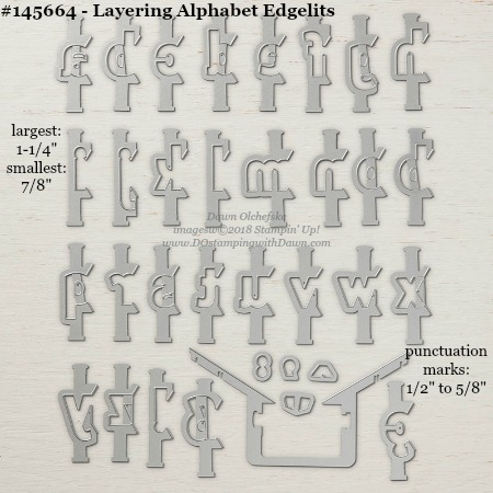 Layering Alphabet 145664-DOstamping Stampin' Up! Framelits Measurements sizes for 2018-2019 Annual Catalog #stampinup #dostamping #framelitsizes