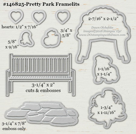 Pretty Park-146825-DOstamping Stampin' Up! Framelits Measurements sizes for 2018-2019 Annual Catalog #stampinup #dostamping #framelitsizes