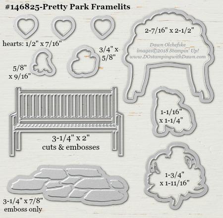 Pretty Park-146825-DOstamping Stampin' Up! Framelits Measurements sizes for 2018-2019 Annual Catalog #stampinup #dostamping #framelitsizes