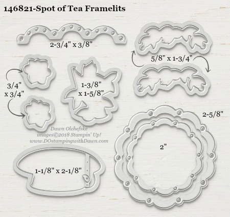 Spot of Tea-146821-DOstamping Stampin' Up! Framelits Measurements sizes for 2018-2019 Annual Catalog #stampinup #dostamping #framelitsizes