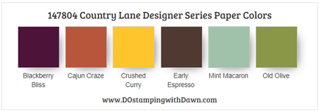 147804 Country Lane Designer Series Paper colors