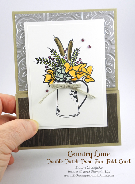 Double Dutch Door Fun Fold Card by Dawn Olchefske, uses Stampin' Up!  Country Home, Tin Tile Texture Folder & Stampin' Blends for DOstamperSTARS Thursday Challenge #DSC298 #dostamping #stampinup #handmade #cardmaking #stamping #papercrafting #stampinblends, #countryhome