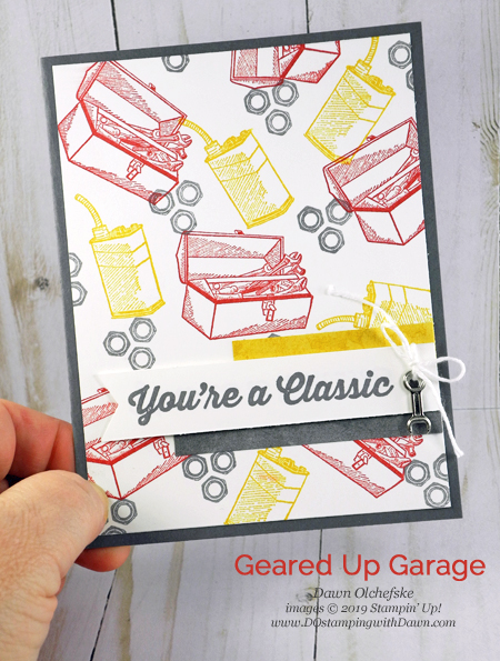 Stampin' Up! Geared Up Garage card by Dawn Olchefske #dostamping #howdshedothat #stampinup #handmade #cardmaking #stamping #papercrafting  #masculinecards #classicgarage