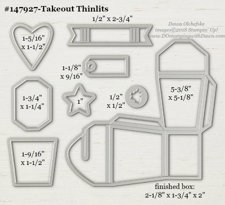 Stampin' Up! Takeout Thinlits Dies sizes shared by Dawn Olchefske #dostamping #stampinup #framelits #thinlits #bigshot