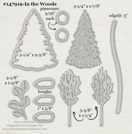 Stampin' Up! In the Woods Framelits Dies sizes shared by Dawn Olchefske #dostamping #stampinup #framelits #thinlits #bigshot