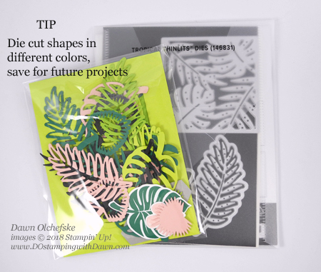 Tip for saving die cut shapes from Dawn Olchefske #dostamping #stampinup #bigshot #tropicalthinlits