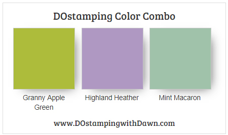 Stampin' Up! Color Combo Granny Apple Green, Highland Heather, Mint Macaron from Dawn Olchefske #dostamping #stampinup #colorcombo