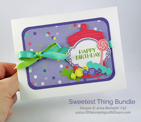 Stampin' Up! Sweetest Thing Bundle card shared by Dawn Olchefske #dostamping #howdshedothat #stampinup #handmade #cardmaking #stamping #papercrafting  #sweetestthing #birthdaycards #bigshot