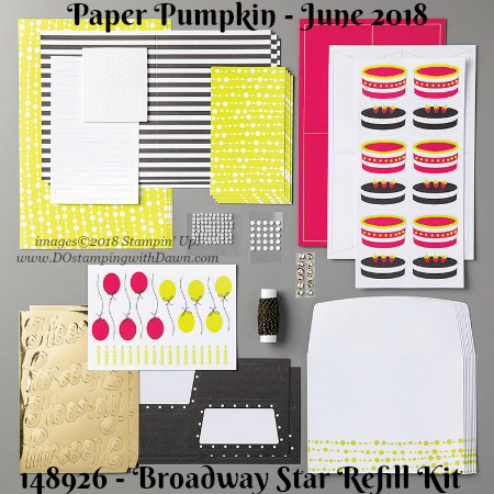 Broadway Star June 2018 Paper Pumpkin Kit ideas by Dawn Olchefske #stampinup #paperpumpkin #cardmaking #cardkit #rubberstamping #diy #BroadwayStar