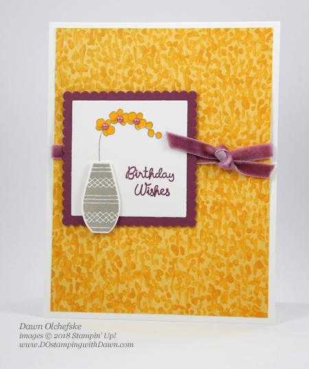 Stampin' Up! Varied Vases Bundle and Garden Impressions DSP card shared by  Dawn Olchefske #dostamping #stampinup #handmade #cardmaking #stamping #papercrafting#gardenimpressionsDSP #birthdaycards