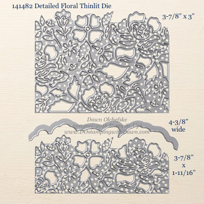 Detailed Floral Thinlit Dies sizes shared by Dawn Olchefske #dostamping #stampinup