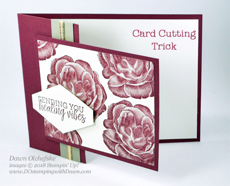 Card cutting trick by Dawn Olchefske, Stampin' Up! Healing Hugs #dostamping  #stampinup #handmade #cardmaking #stamping #papercrafting #getwellcards #healinghugs
