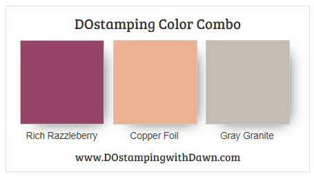 Stampin' Up! Rich Razzleberry, Copper, Gray Granite from Dawn Olchefske #stampinup #dostamping #color combo