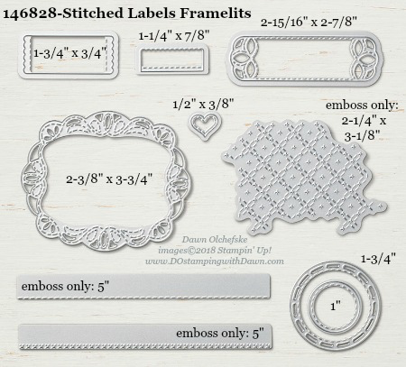 Stampin' Up! Stitched Labels Framelits sizes shared by Dawn Olchefske #dostamping  #StitchedLabels