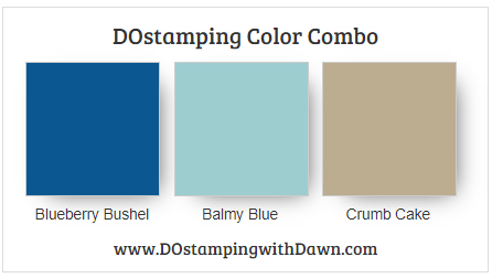 Stampin' Up! color combo Blueberry Bushel, Balmy Blue, Crumb Cake from Dawn Olchefske #dostamping #stampinup #colorcomb