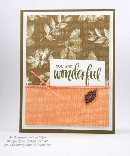 Stampin' Up! Nature's Poem Designer Series Paper swaps shared by Dawn Olchefske #dostamping #stampinup #handmade #cardmaking #stamping #papercrafting(Karen Titus)