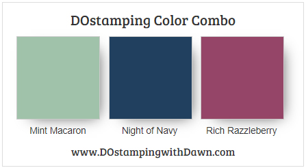 Stampin' Up! color combo Mint Macaron, Night of Navy, Rich Razzleberry from Dawn Olchefske #dostamping #howdshedothat #stampinup #colorcombo