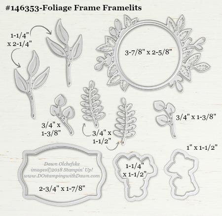 Foliage Frames-146353-DOstamping Stampin' Up! Framelits Measurements sizes for 2018-2019 Annual Catalog #stampinup #dostamping #framelitsizes