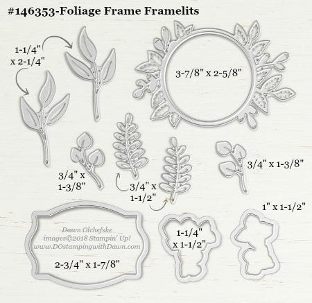 Foliage Frames-146353-DOstamping Stampin' Up! Framelits Measurements sizes for 2018-2019 Annual Catalog #stampinup #dostamping #framelitsizes