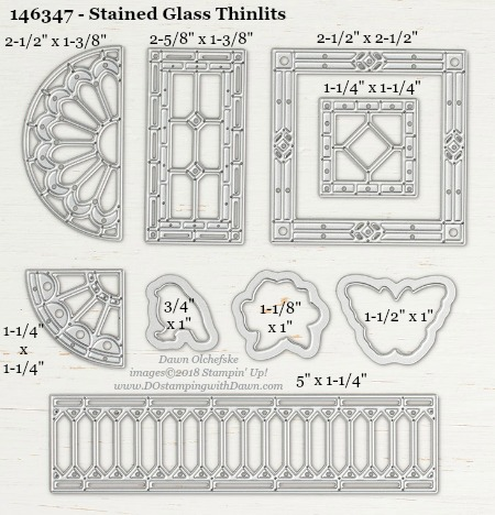 Stained Glass - 146347-DOstamping Stampin' Up! Framelits Measurements sizes for 2018-2019 Annual Catalog #stampinup #dostamping #framelitsizes