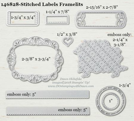 Stitched Labels-146828-DOstamping Stampin' Up! Framelits Measurements sizes for 2018-2019 Annual Catalog #stampinup #dostamping #framelitsizes