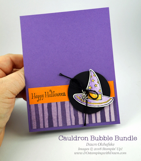 Stampin' Up! Cauldron Bubble Bundle card by Dawn Olchefske for DOstamperSTARS Thursday Challenge #DSC297 #dostamping #stampinup #handmade #cardmaking #stamping #papercrafting #stampinblends #halloweencards