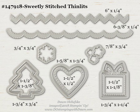 Stampin' Up! Sweetly Stitched Thinlit Dies sizes shared by Dawn Olchefske #dostamping #stampinup #framelits #thinlits #bigshot